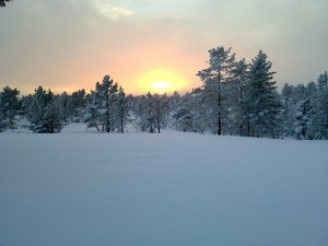 Bei Sonnenuntergang auf dem weißen Dach der Welt